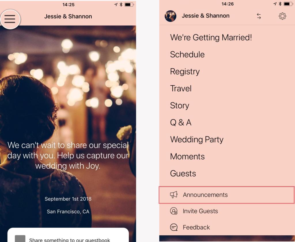 app menu announcement